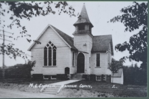 An early view of the Methodist Church in Bantam, destroyed by the tornado.  Bantam Historical Society.