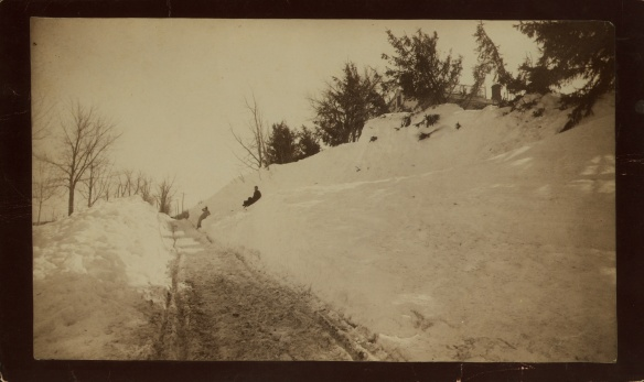 Drifted snow at Dr. Buel's house on North Street, Litchfield, 1888.  Courtesy of Litchfield Historical Society.