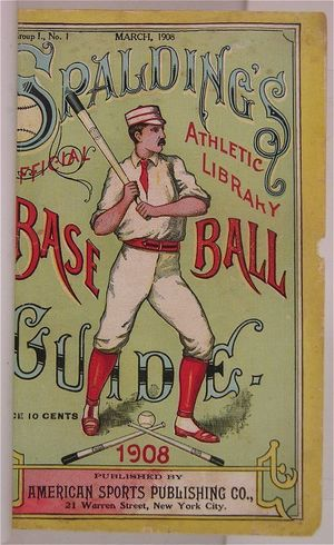 The 1908 Spalding Guide, which contained the report of the Mills Commission on the origins of baseball.