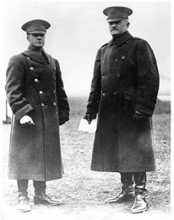 Foulois (left) with General John J. Pershing, commander of American forces in World War I.
